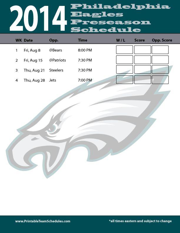 Philadelphia Eagles 2014 Preseason NFL Schedule