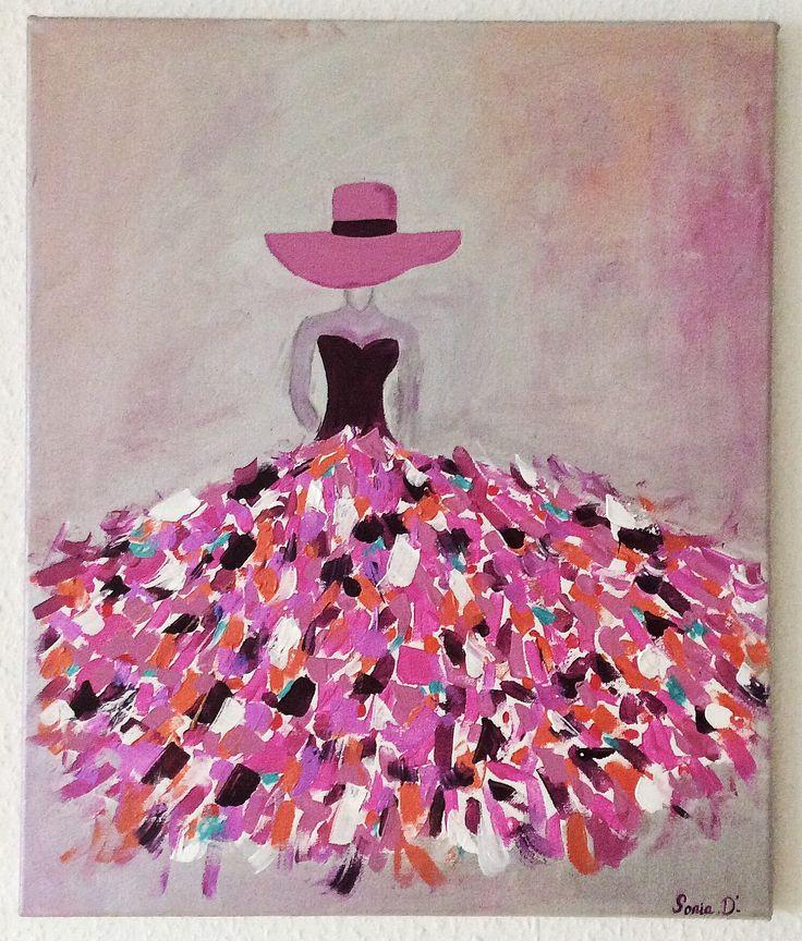 C'est un tableau moderne qui représente une femme dans une robe aux couleurs flamboyantes sur une toile de dimension 55x46. Peinture contemporaine et moderne. Les couleurs utilisées fuchsia, rose, orange, rouge, turquoise, prune, blanc... sur un fond gris argent et rose/orange. Dimension 55 x 46 cm. C'est une peinture acrylique, vernis et signée. Reproduction interdite sonia-creation sur alittlemarket