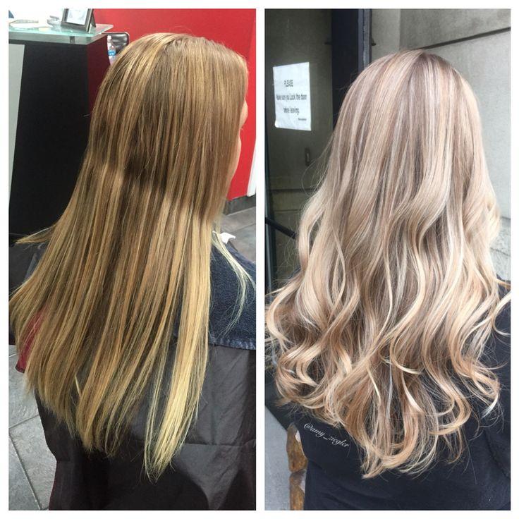 Cool Blonde highlights before&after by @amy_ziegler #askforamy#versatilestrands