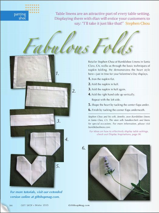Gift Shop Magazine Winter 2010  Napkin Folds