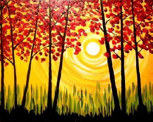 644 best paint nite images on pinterest for Fall paintings easy