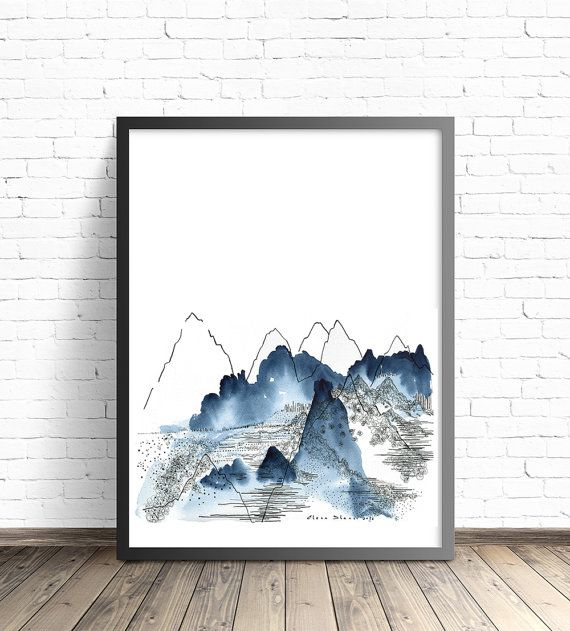 Abstract Mountain. Nature Watercolor Print. by DreamyMeisme