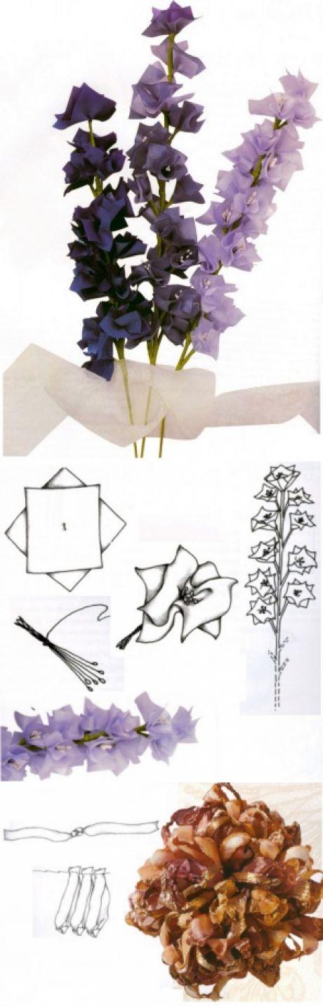 Дельфиниумы и хризантема / Цветы из лент и ткани / В рукоделии