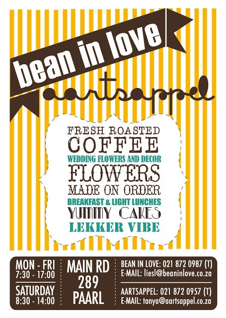 """""""Bean In Love"""" - Paarl coffee shop - Great name and very good coffee! Western Cape - South Africa. #coffee #paarl #coffeeshop"""