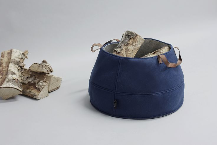 Norwegian design, HOOP felt storage basket in navy blue with light gray lining, and leather handles. Designed by Christine E. Sveen for Sne design. Available at snedesign.com