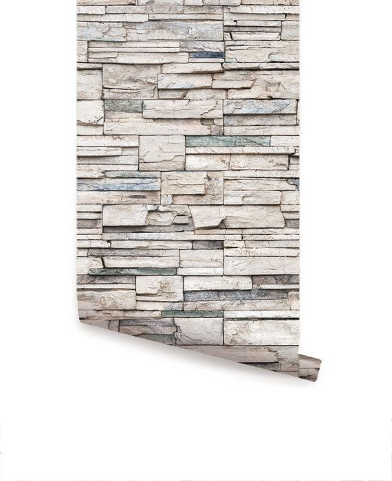 Faux Stone Peel & Stick Fabric Wallpaper by AccentuWall on Etsy                                                                                                                                                                                 More