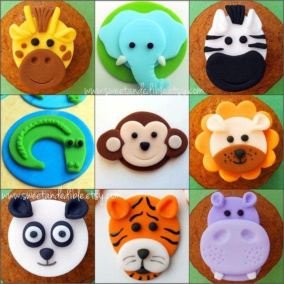 12 JUNGLE ANIMALS. Edible Fondant Cupcake par SWEETandEDIBLE