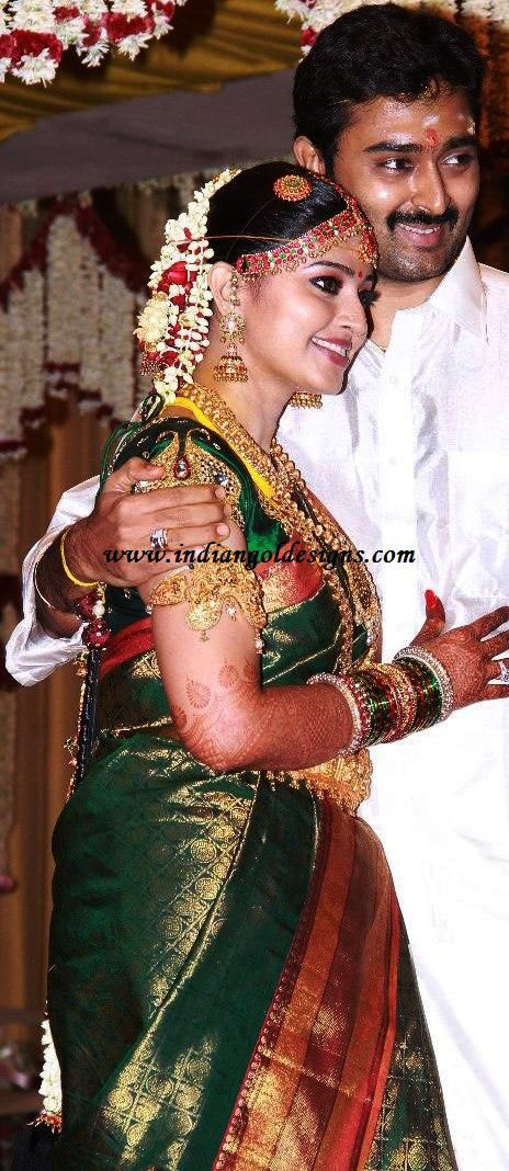 Latest Saree Designs: sneha in green bridal saree on her wedding day