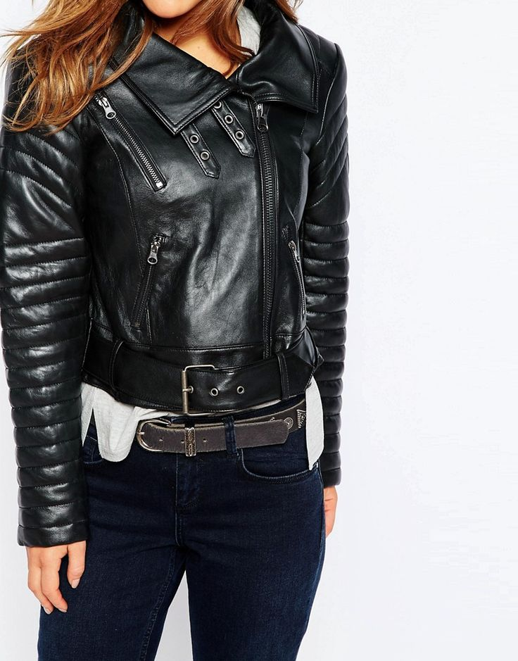 Image 3 of ASOS PETITE Biker Jacket with Funnel Neck in Leather
