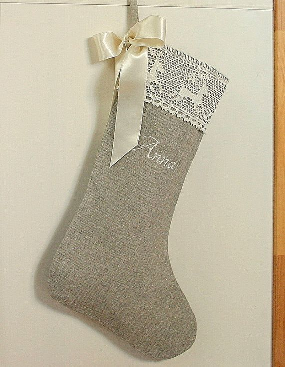 Personalized linen Burlap Christmas stocking by KatysHomeDesigns, $35.00