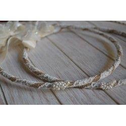 Vintage Χειροποίητα στέφανα γάμου από λινάτσα και πέρλες