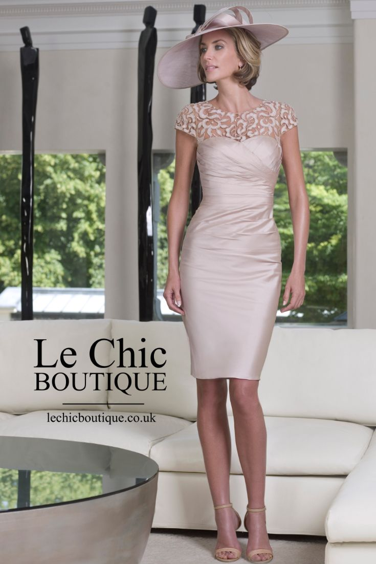 Mother of the Bride Dress: Pink Ivory pencil skirt, hat, and nude stillettos by John Charles - 25847 - mother-bride.com