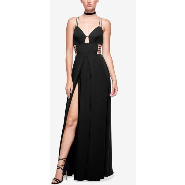 Fame and Partners Georgette High-Slit Maxi Dress (285 CAD) ❤ liked on Polyvore featuring dresses, black, sexy going out dresses, holiday party dresses, maxi party dresses, party dresses and night out dresses