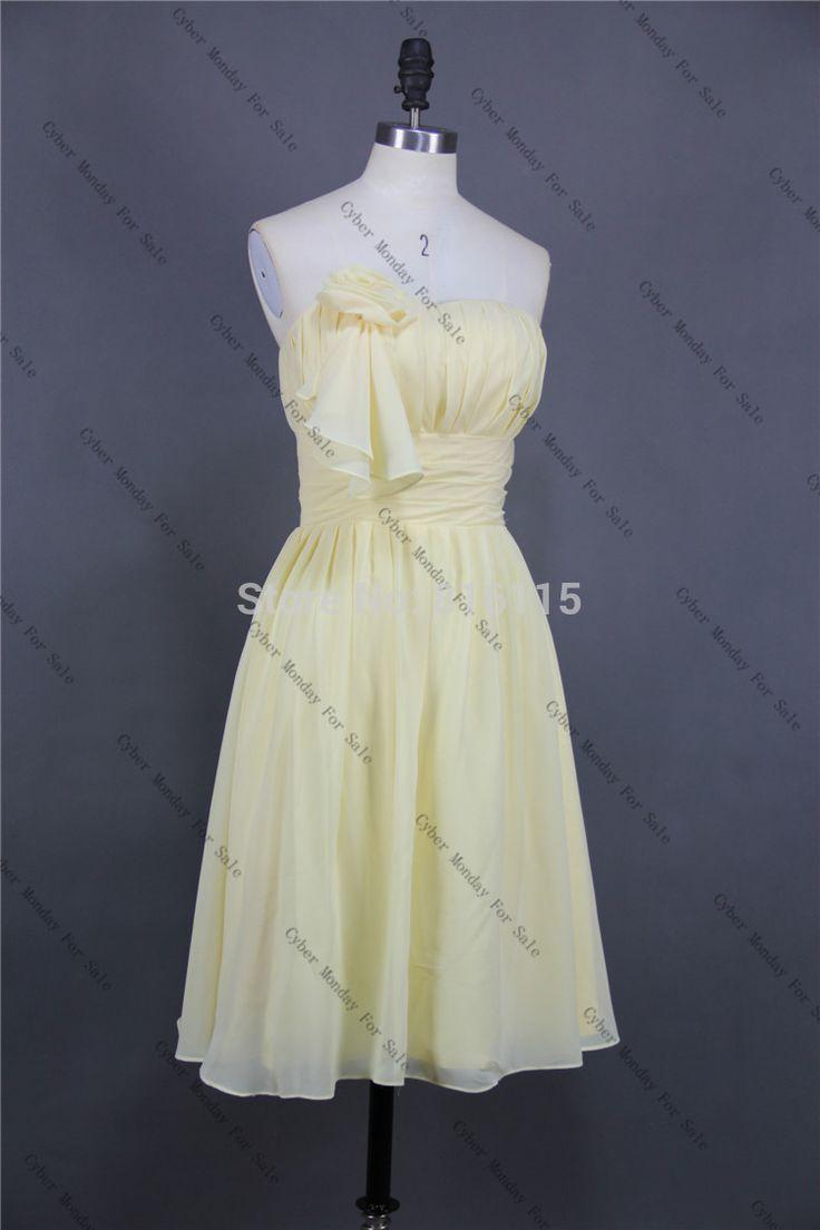Желтые короткие платья невесты 100% реального изображения Hiqh качество шифон длиной до колен платья невесты платья на заказ