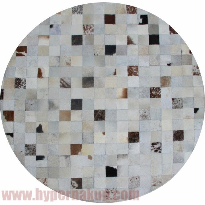 Luxusný koberec, koža, typ patchworku, 150x150 cm, KOBEREC KOŽA typ10