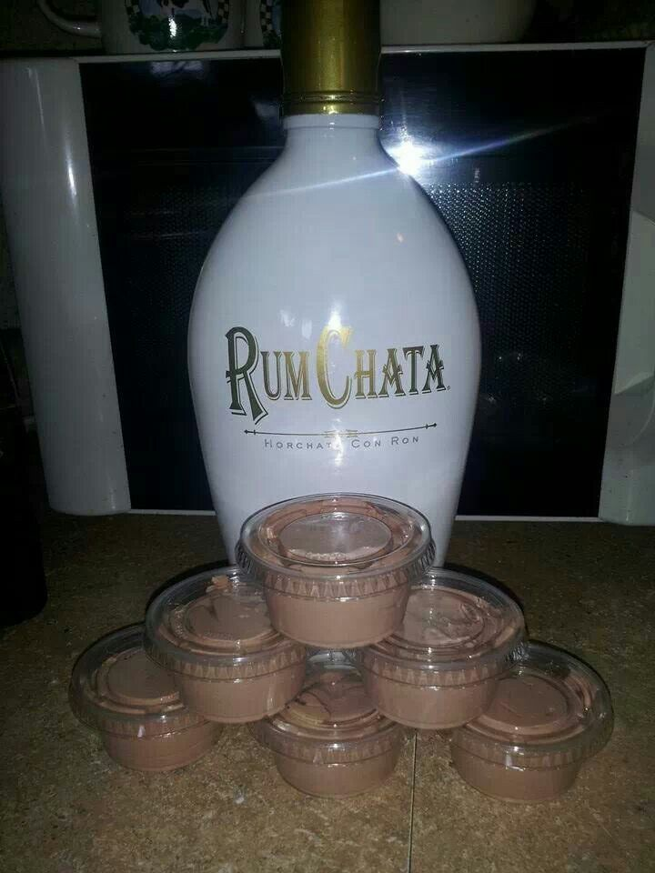 Rum Chata Pudding Shots ~ oh My....here's the recipe: **Ingredients** 1 - 4 oz pkg instant chocolate jello pudding 1 cup milk 1 cup Rum Chata 1 - 8 oz container cool whip **Directions** Mix milk, pudding and Rum Chata till thickened, gently mix in cool whip with spatula, pour (kinda thick but not set yet) into plastic cups. Put cups in a cake pan in the freezer for a few hours then enjoy! Will not freeze hard due to alcohol in them! Delish!