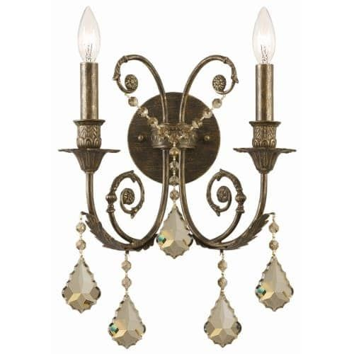 Crystorama Lighting Group 5112-CL Regis 2 Light 12-1/2 Wide Wall Sconce with Cl (english bronze / swarovski spectra (English Bronze/Swarovski Spectra) - Uplight)