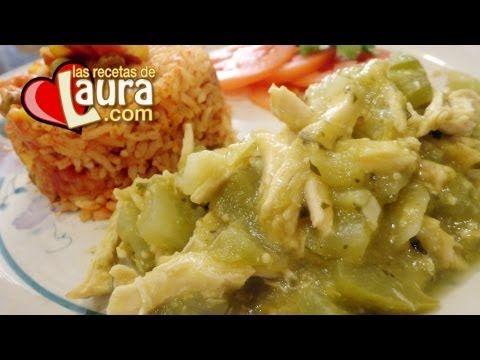 Guisado de Pollo en Salsa Verde ♥ Guisado para rellenar tamales verdes ♥...