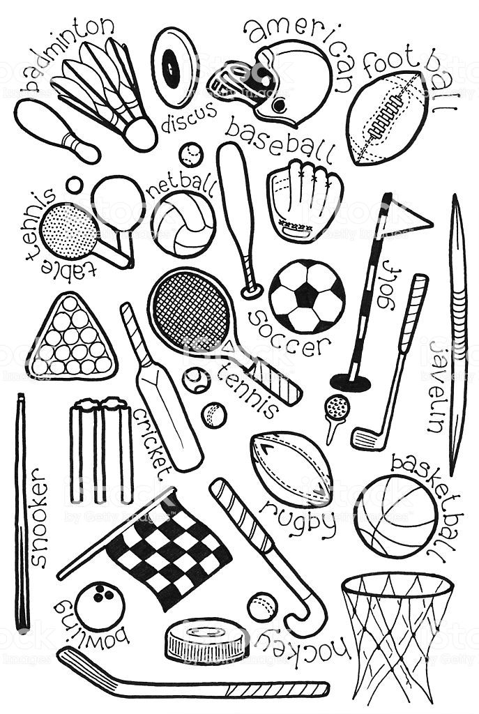 Hand Drawn Doodles On A Sports Theme With Images Sports