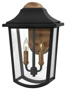 Hinkley Lighting 1974 Burton 2-Light Outdoor Lantern Wall Sconce, Black transitional-outdoor-wall-lights-and-sconces