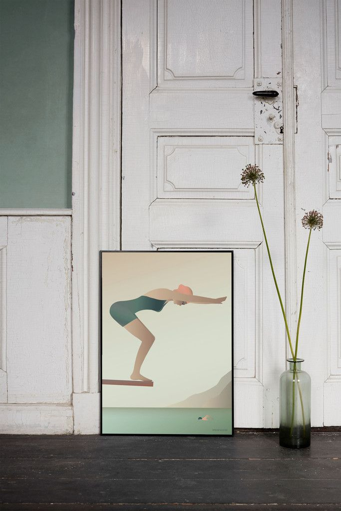 Plakat Svømmeren med udspring fra vippe fra Vissevasse.