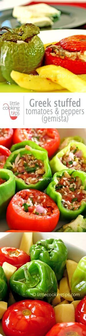 The authentic, traditional recipe for Greek stuffed tomatoes and peppers (Gemista). An extremely popular Greek vegan recipe you' ll love to make again and again. The perfect dish for meatless Monday. #healthy #recipe #vegan #Greek #stuffed
