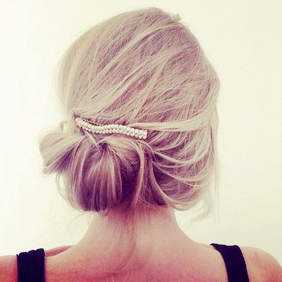 Messy Updo with Pearl Accessory - 18 Best Wedding Hairstyles for Women with Thin Hair - EverAfterGuide