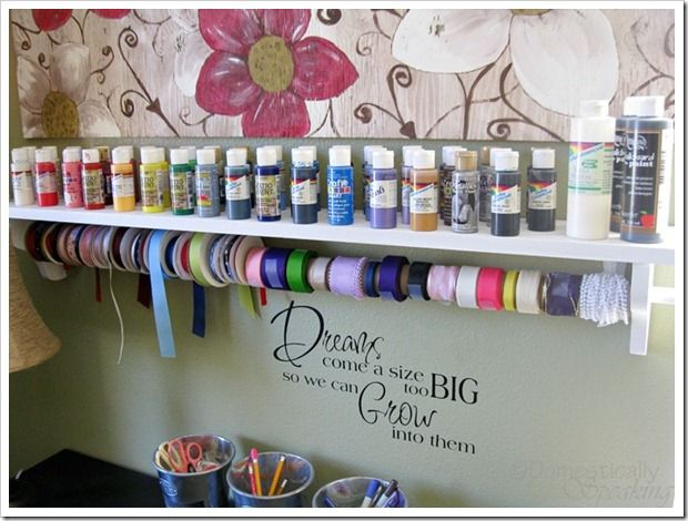 Paint & Ribbon shelf made with wooden shelf and a dowelRibbons Holders, Office'S Al Seperation, Room In Addition, Seperation Hobbies Room, Domestic Speak, Art Crafts Room In, Music Rooms, Room Additions, Craft Rooms