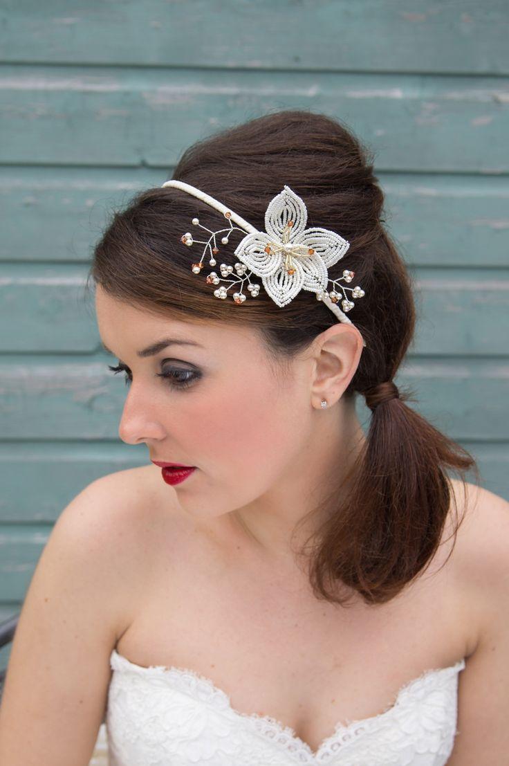 Tiaras wedding side tiara bridal necklace wedding bracelet tiara - Pretty Bridal Wedding Crystal Pearl Flower Side Tiara Headpiece Handcrafted In Cheshire