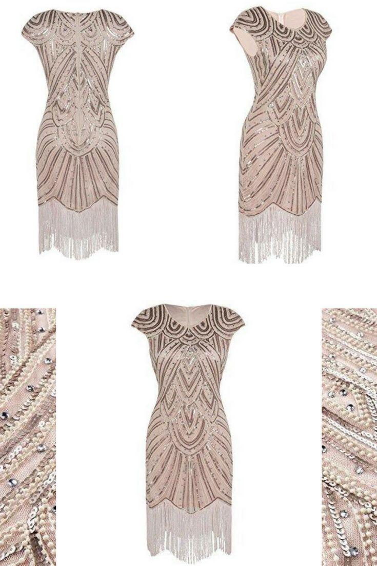 15er Jahre Flapper Kleid Kristall Pailletten verziert mit