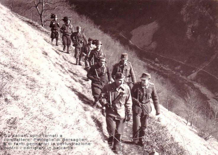 Bersagliers de la RSI en patrouille avec des soldats allemands