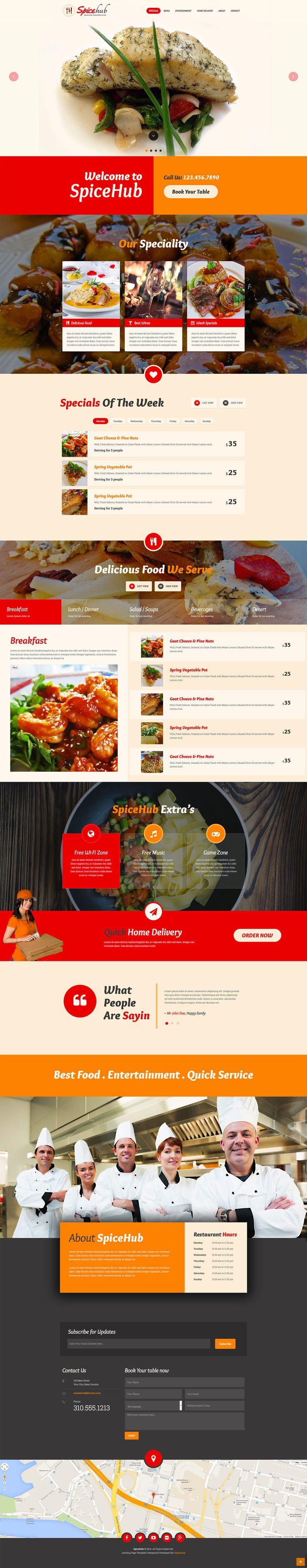 SpiceHub Restaurant Responsive Landing Page by Saptarang #webdesign