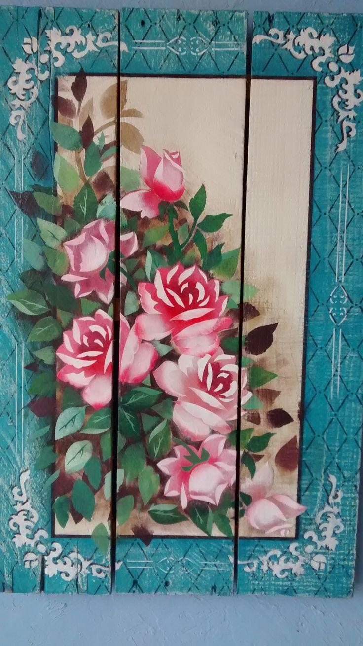 Pallet de caixote de feira , pintura com stencil OPA baseado no projeto da Mayumi Takushi