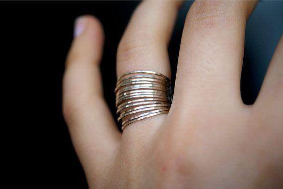 Sterling zilveren stapelen ringen set van 15 mager door hannahnaomi