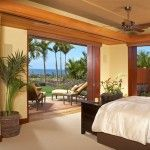 Nice Tropical Bedroom Ideas with Wooden Folding Doors