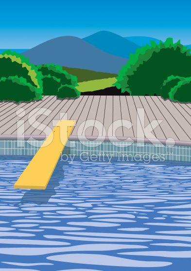 diving board yellow sunny pool ripples vector royalty-free stock vector art