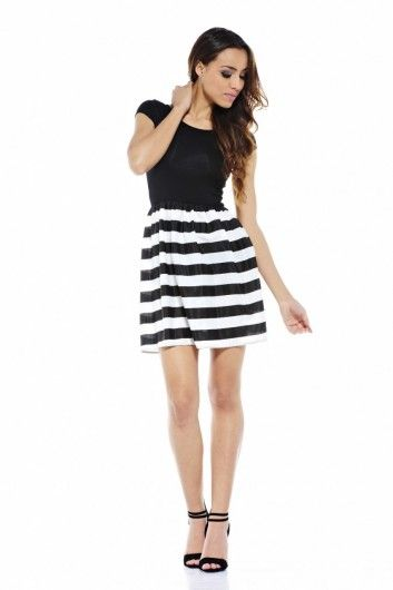 Striped Skirt Skater Dress