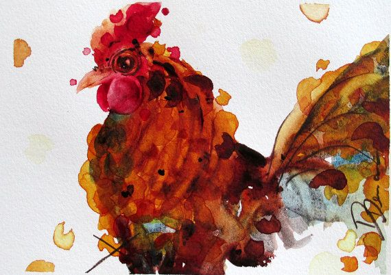Rustic Country Farm Decor Rooster Art by RedbirdCottageArt on Etsy, $50.00