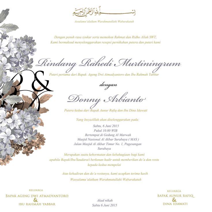 wedding invitation design for Rindang & Donny
