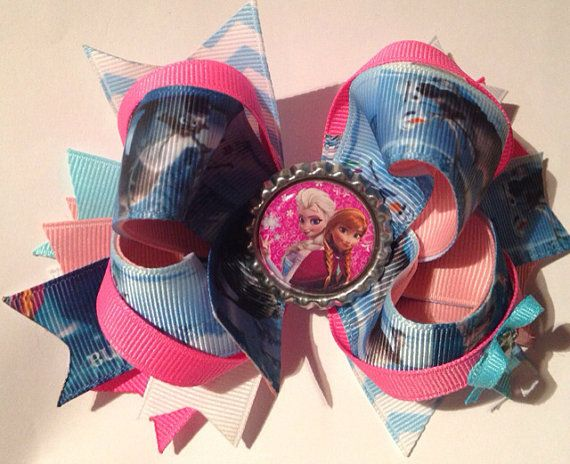boutique hairbow - boutique hairbows - hair bow - hairbows - headbands - baby - toddler- girls - Disney frozen on Etsy, $6.50