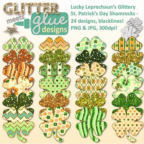 Lucky Leprechaun's Glittery St. Patrick's Day Shamrocks Clipart.