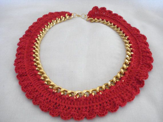 50% off Statement necklace Gold chain necklace Red by Poppyg