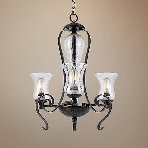 """Classic Collection 23 1/2"""" Wide Black Iron Chandelier"""