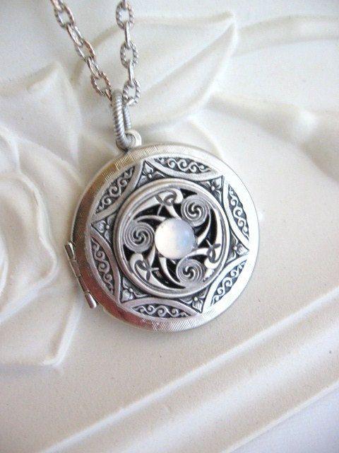 SALE Triskele Pendant Triskelion, Moonstone Locket, Celtic Jewelry, Celtic Necklace, Irish Jewelry, Silver Locket Necklace, Celtic Pendant