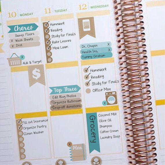 November Vertical Layout Coordinating Basics - Instant Download - to fit your Erin Condren Weekly Boxes