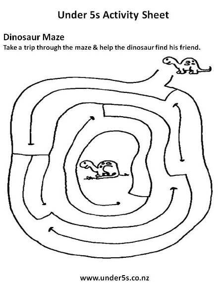 Free Pre-school Printable Dinosaur Maze Activity Sheet For Kids