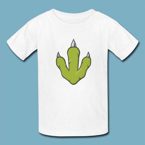T-shirt Dino Poot | Een 100% katoen single jersey t-shirt verkrijgbaar met v-hals of ronde hals met opdruk voor kinderen! In diverse maten verkrijgbaar.  #kleding #textieldruk #textielprint #opdruk #print #eigenprint #kindershirt #tshirt #shirt #witshirt #kids #meiden #jongens #meisjes #schattig #dino #dinosaurus #poot #cartoon #illustratie #afdruk #prehistorisch