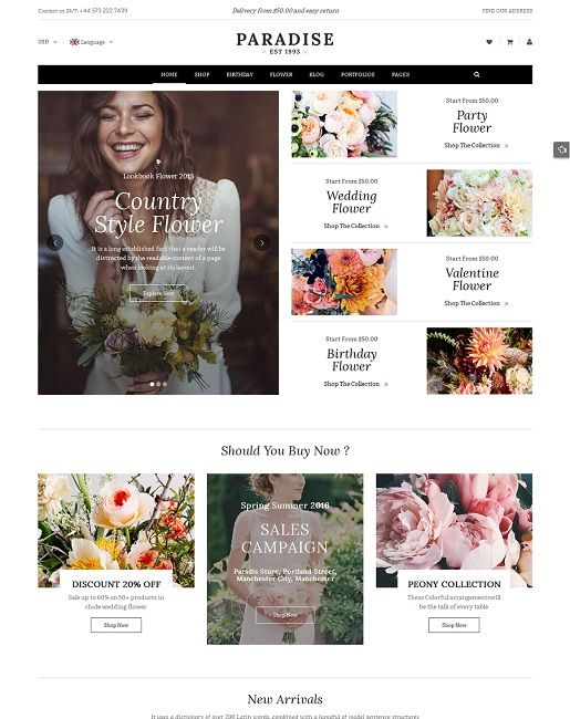 Paradise is a eCommerce WordPress theme that is ideal for any online stores, specially for flower stores. This WooCommerce Wordpress template comes with a flexible layout with 5 homepage layouts, 7 color schemes, creative design and ultimate core features to build an outstanding flower shop.