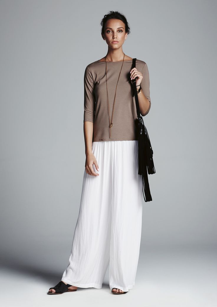 Clay boat neck top and white maxi pant