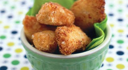 Deceptively Delicious Chicken Nuggets  (Contains: whole wheat; flaxseed; broccoli, spinach, sweet potato or beet puree)